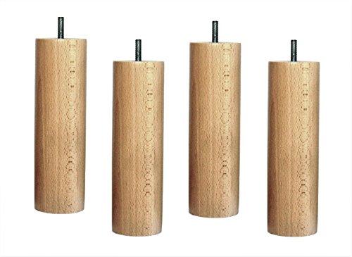 ACCESSOIRES-LITERIE Jeu de 4 Pieds de lit en Bois Massif Vernis Naturel Hauteur 20 cm