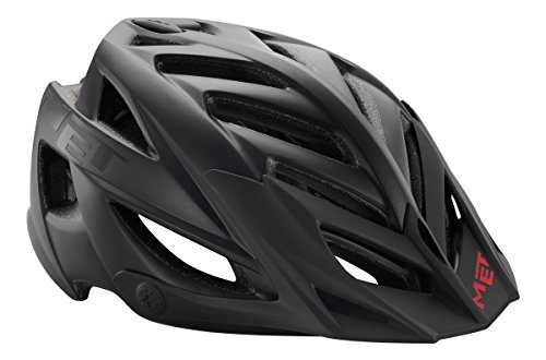 MET Erwachsene Terra MTB Helmet, matt Black/Red, one Size