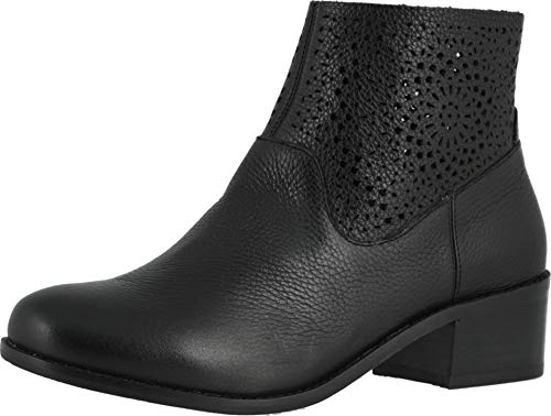 Vionic Women's Hope Luciana Perforated Detailed Ankle Booties - Ladies Comfortable Walking Boots with Concealed Orthotic Arch Support Black 9.5 Medium US