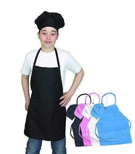 Kids Apron and Chef Hat Set. Adjustable Hat. Fits Childs Size Medium 6-12 (Black) - Free eBook