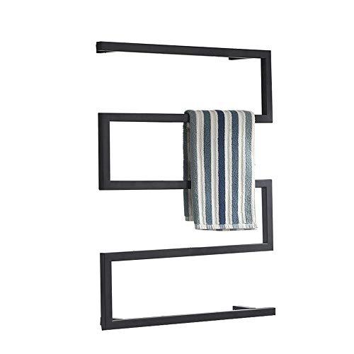 XSGDMN Toalla Calentador eléctrico, toallero Blanco Recto radiador toallero Calentador de Toallas radiador de calefacción, Curvado Negro Mate, 31.5x23.6 Pulgadas,Hardwired