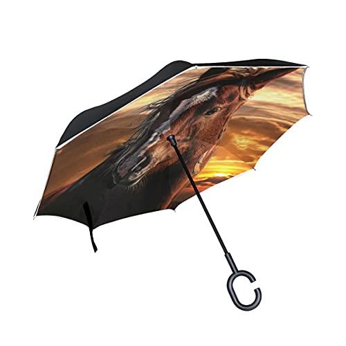 hengpai Paraguas invertido invertido al revés para coches, unigue a prueba de viento, a prueba de rayos UV, doble capa para mujer