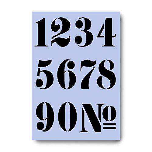 Pochoir réutilisable en feuille de Mylar, avec chiffres de style français, de 60 mm de haut, 0 1 2 3 4 5 6 7 8 9, pochoir en plastique souple et résistant 210 x 297 mm