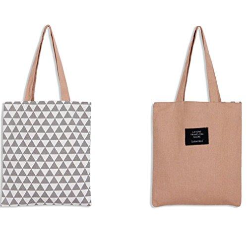 Skyeye 1 Stück Schulter Leinwand Baumwolle doppelseitige Stofftaschen Einkaufstaschen Jutebeutel Papierpulver schwarzes Dreieckmuster