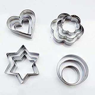12PCS Stainless Steel Cookie Biscuit DIY Mold Star Heart Cutter Baking Mould Cookie Cake Baking Mold Tools Sandwich Fruit Cutter