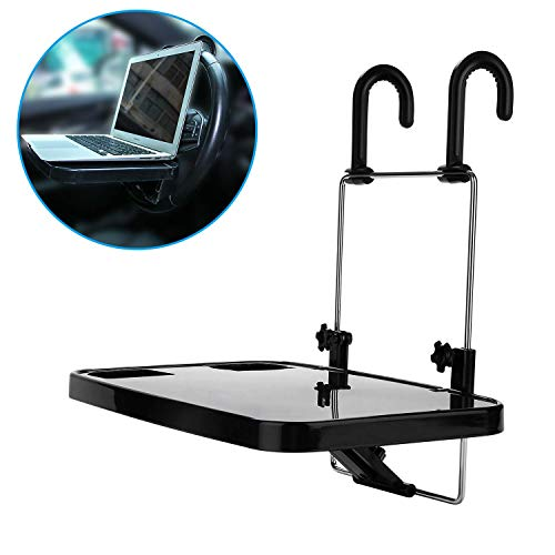 KONGDY Car Steering Wheel Laptop Tray Portable Hanging Auto Lunch Desk Car Table Steering Wheel Mate Foldable Vehicle Back Seat Table for Food/Drink/Notebook/Cup Holder