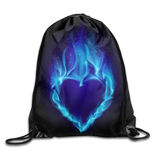 Sporttaschen Turnbeutel, Drawstring Bags Bulk, Drawstring Bag Gym Bag Travel Backpack, Heart In Blue Fire, Girls Drawstring Bags for Women Men Adults