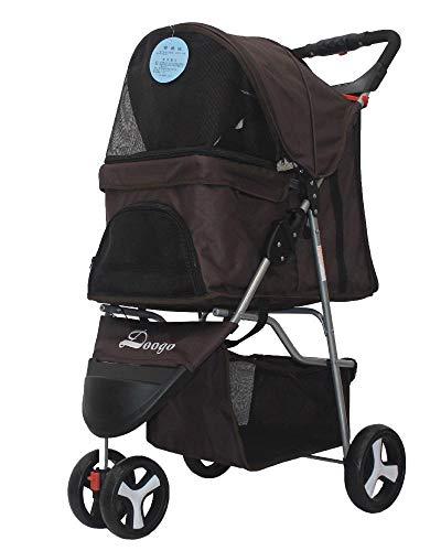 Lozse Pet Stroller Hond Pushchair Lichtgewicht vouwen Trolley driewieler Oxford stof kleine baby auto, B