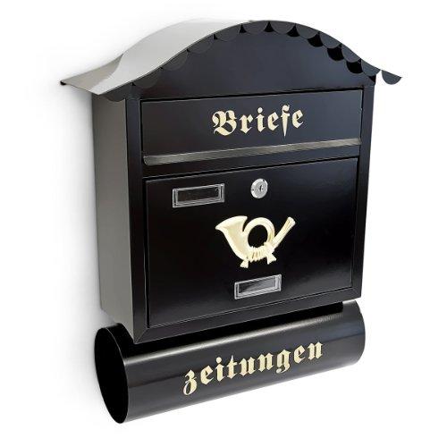 Relaxdays Briefkasten mit Zeitungsfach - Schwarz