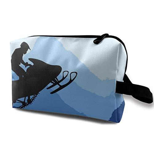 Bolsa de maquillaje para motos de nieve para mujer, bolsa de maquillaje espaciosa de viaje, organizador de accesorios con cremallera