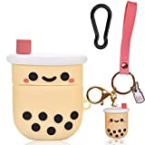 Cute Airpods Case Cover with Keychain, Girly Pink Boba Milk Tea Silicone Protective Shockproof Compatible with AirPods 1 & 2 Charging Case for Girls (Airpods 1/2)
