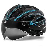 FUNWICT Casco Bicicleta con Gafas Magnéticas Casco Bici de Montaña Ligera LED Casco Bicicleta de Carretera para Mujer Hombre Casco MTB Ligero 57-61 cm (BKInkBlue)