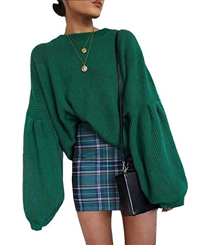 PRETTYGARDEN Women's Loose Drop Shoulder Lantern Sleeve Round Neck Fashion Pullover Sweater Tops (Green, Small)