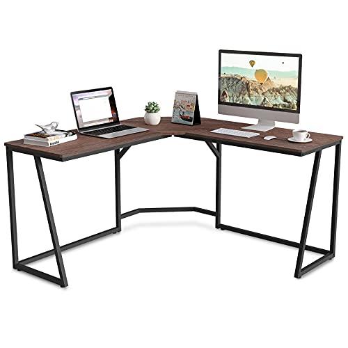FITUEYES L-Shaped Escritorio esquinero Mesa Ordenador para Oficina u Hogar Color Nogal 140 * 140 * 75cm LCD114001WE