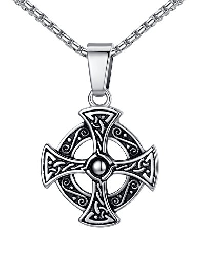 Aoiy Stainless Steel Celtic Cross Irish Knot Pendant Necklace, Unisex, 21' Link Chain, aap153