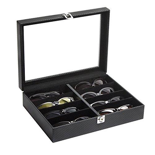 JackCubeDesign Organizador de exhibición de anteojos de cuero de 8 compartimentos, caja de almacenamiento de gafas de sol, cubierta de acrílico (negro) - MK379A
