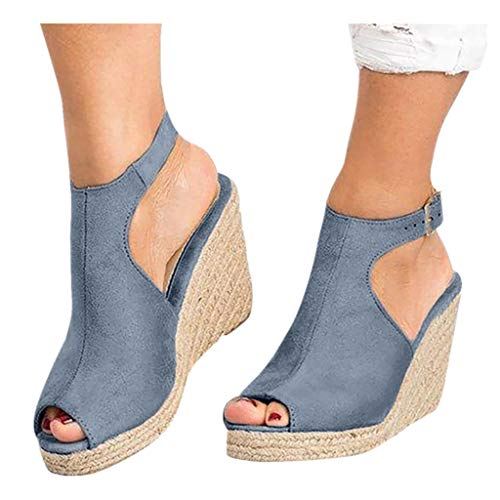 Cenglings Wedges Sandals,Women's Fish Mouth Espadrilles Slingback Platform Sandals High Heel Ankle Strap Beach Shoes Gray