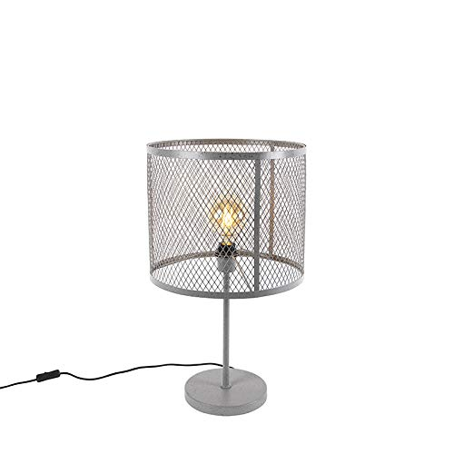 QAZQA Industriel Lampe de Table/Lampe á poser/Luminaire/Lumiere/Éclairage ronde industrielle argent antique - Cage Robusto Acier Gris Cylindre E27 Max. 1 x 40 Watt/intérieur/Salon