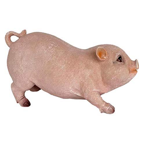 Homyl Statue de Porc en résine Figurines de Cochon Sculpture Paysage - Cochon Assis Rose