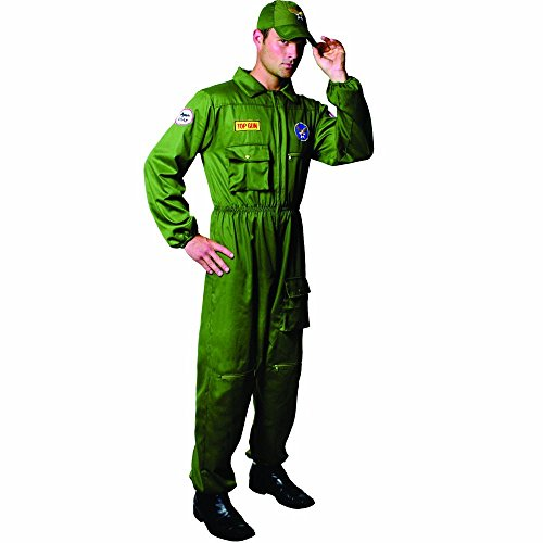 Dress Up America Air Force Pilot Costume Adults (Small) Enterizo de Disfraz, Green, (Waist: 91-99, Height: 160-165, Inseam: 69-74 cm) para Hombre