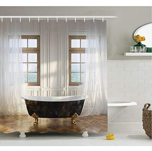 WIXIJAWR Antique Shower Curtain Retro Bathtub in Modern Room Interni Hardwood Classics Space Design Tessuto in Poliestere Arredo Bagno, 150X180Cm