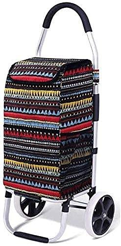 YLDXP Carrito de Compras portátil Carrito de Compras Carrito de Compras, Carrito de Compras Plegable con Ruedas Carrito de Compras Grande y liviano con Bolsa Desmontable, Capacidad máxima 40Kg (Co