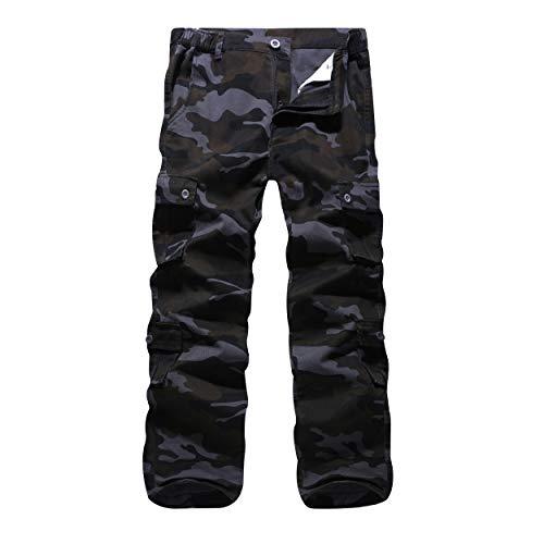 iCKER Herren Cargo Hose Camouflage Hose militär Casual Outdoor Arbeitshose Freizeithose Camo Schwarz 36