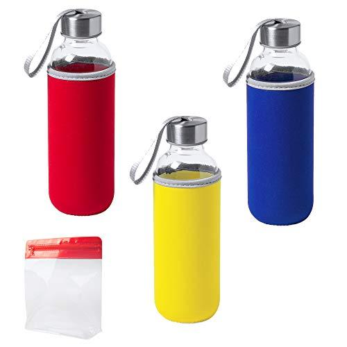 NATUIAHAN 3 Botellas de Agua de Cristal (420 ml.) con Funda de Neopreno Tapa de Seguridad de Acero Inoxidable sin Fugas y Cinturón de Transporte. Incluye una Bolsa Multiusos