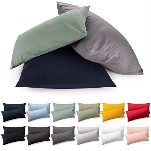 Blumtal 2er Set Kissenbezug 40 x 40 cm - 100% Baumwolle, Superweicher Premium Jersey Kopfkissenbezug, Kissenhülle, Grau