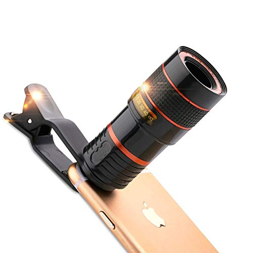 Universal 8X 12X Mobile Phone for Camera Smartphone Lens Hd Telescope Lens Zoom Clip Lens Compatible with iPhone 11 Pro Max X Xs Max Xr/8/7/6/6S Samsung Android and Smartphone with Travel Case