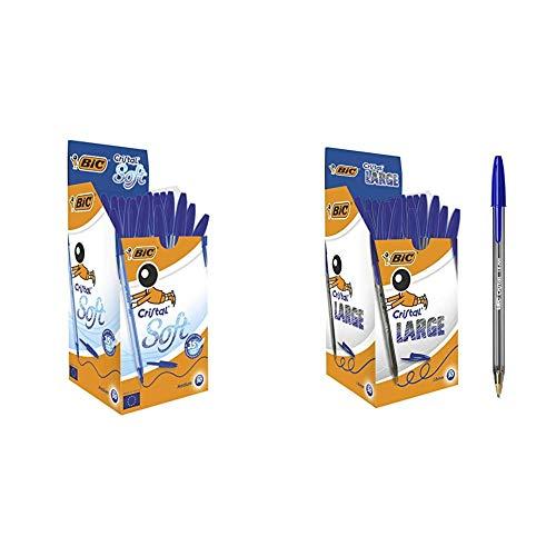 BIC Cristal Soft bolígrafos punta media (1,2 mm) - Azul, Caja de 50 unidades + Large Bolígrafos Punta Ancha (1,6 mm) - Azul, Caja de 50 Unidades, para escritura suave, ideal para oficinas