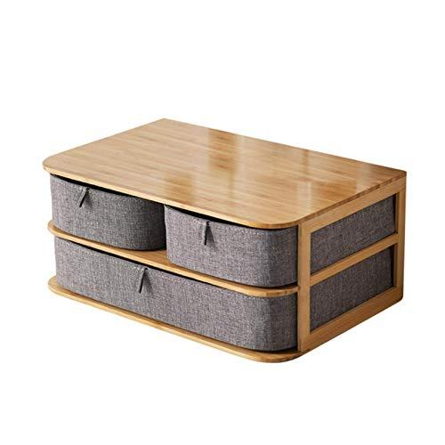 Waroomss Multi-Layer-Kosmetik/Make-up Aufbewahrungsboxen, Schublade Typ Aufbewahrungsbox, Desktop Organizer Aufbewahrungsbox, Bambus + Oxford Tuch, wasserdicht und langlebig, für Home Office