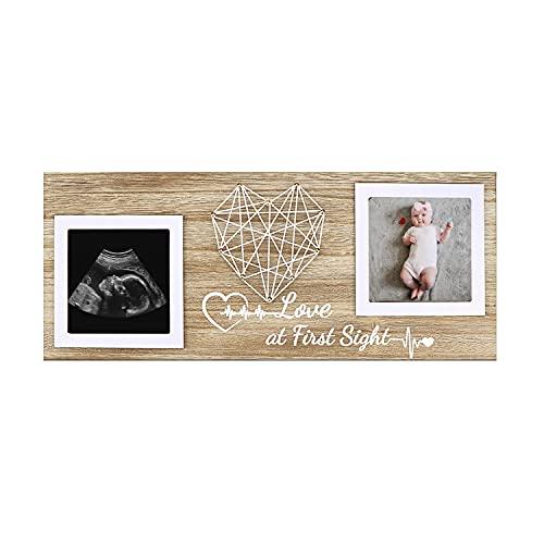 Primer marco de fotos del bebé, marco de ultrasonido para ecografía para dos marcos de recuerdo de fotos de escaneo, regalo para la futura mamá embarazada (Love at First Sight)