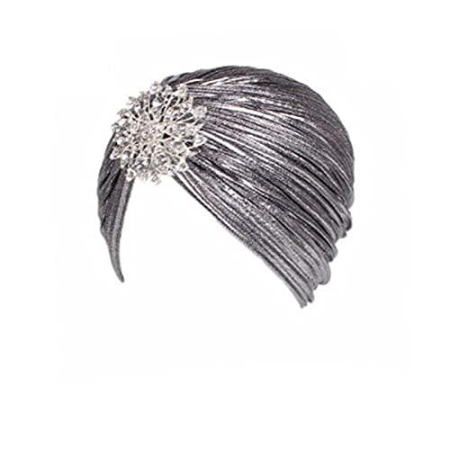 juntao Sombrero de oro noble plegable para mujer, sombrero musulmán, con broche de diamante de color, accesorios para el cabello (color: 4)