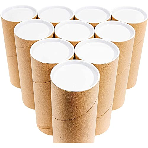 Juvale Mailing Shipping Tubes with Caps (10 Pack) 3 x 7 Inches, Brown, Kraft