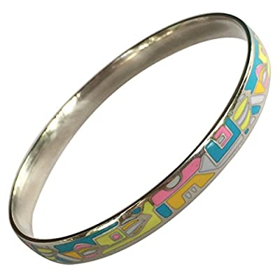 EverKid Bangles Bracelets Elegant Fashion Jewelry Multicolored Enamel Bangle Stainless Steel