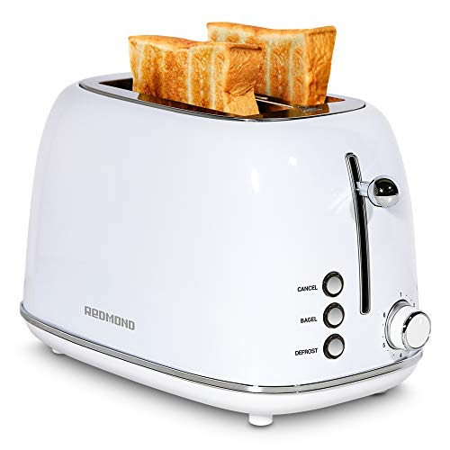 REDMOND 2 Slice Toaster Retro Stainless Steel Toaster with Bagel, Cancel, Defrost Function and 6...