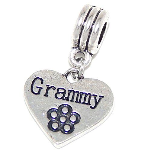 GemStorm Silver Plated Dangling Grammy Heart w/Flower for European Snake Chain Bracelets
