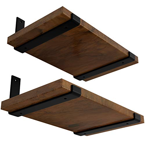 LEOPO 10 inch Shelf Bracket for DIY Floating Shelf, 1/5 inch Thick Heavy Duty Bracket, 4 Pack