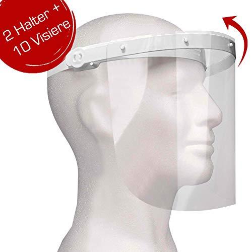 Enka Care Gesichtsschutz Visier aus Kunststoff - Augenschutz Spuck-Schutz - Premium Gesichtsschild - Face-Shield -1 x Halterungen mit je 2 Wechselfolien (2Halter-10 Visier)