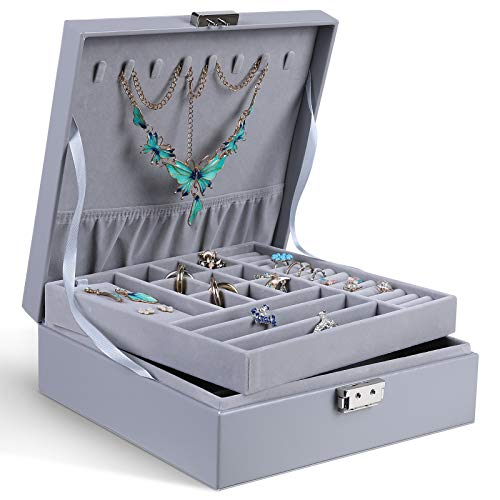 misaya 2 Layers Jewelry Box with Code Lock Women Large Display Jewelry Storage Organizer for Earrings Rings Necklaces Grey