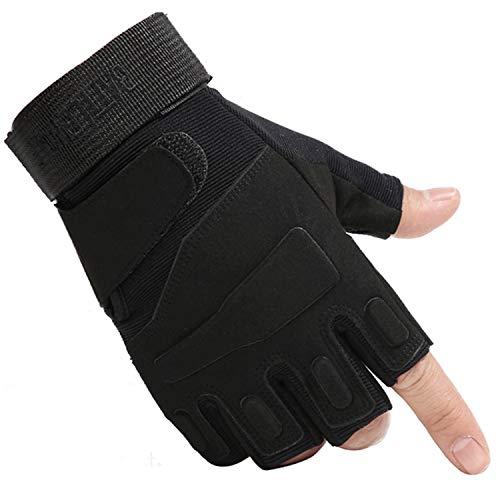 Tirain Guantes militares de medio dedo sin dedos tácticos para airsoft, caza, equitación, ciclismo, talla M, color negro
