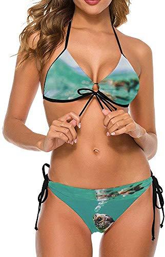 Conjunto de Bikini Halter Ajustable de Dos Piezas para Mujer y niña, Traje de baño, Trajes de baño, Tortuga bebé bajo el mar, Turquesa, tamaño Extra Grande