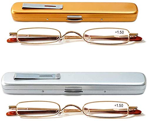 KoKoBin Mini Reading Glasses - 2 Pairs Metal Frame Readers with Spring Hinge Portable Pen Clip for Men Women,Gold+Silver 2.50 Strength