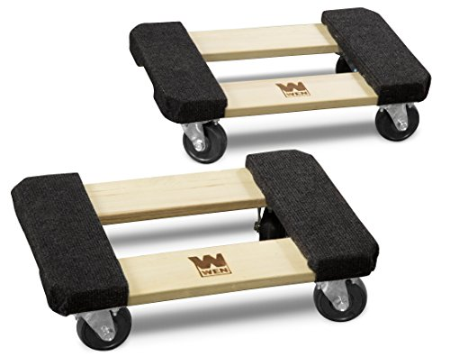 WEN 721218 1000 lbs. Capacity 12 in. x 18 in. Hardwood Furniture Dolly (2-Pack)