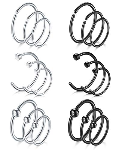 Zolure 18 Pieces 20G Fake Nose Rings Hoop Stainless Steel Fake Lip Ear Nose Septum Ring Non-Pierced Clip On Nose Hoop Rings 6-10MM 3 Styles