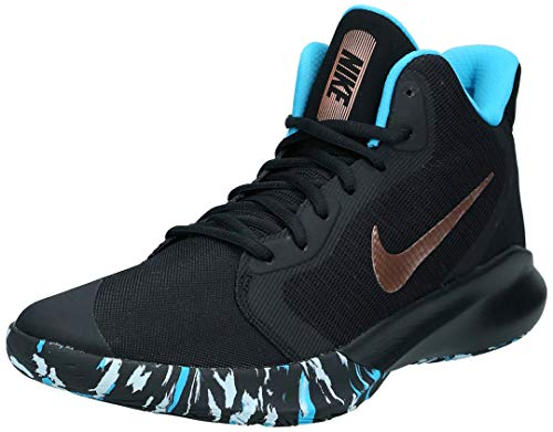 Nike Unisex-Erwachsene Precision III Basketballschuhe, Mehrfarbig (Black/MTLC Red Bronze/Lt Current Blue 5), 46 EU