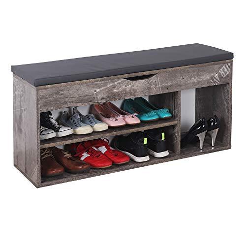RICOO WM034-CF-A Banco Zapatero 104x49x30cm Armario Interior con Asiento Organizador Zapatos Mueble recibidor Perchero Madera Gris Vintage