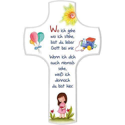 FRITZ COX® - Kinderkreuz 'Wo ich gehe'; Mädchen, 18x11 cm, weiß lackiert