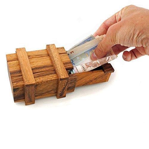 GOODS+GADGETS Magische Geldgeschenkbox aus Holz XXL Geschenkbox Holzspiel IQ Knobelspiel Denkspiel Geduldspiel